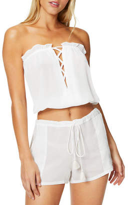 Ramy Brook Mika Strapless Blouson Crop Top