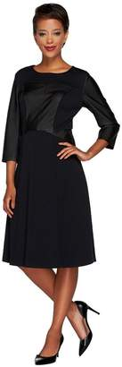 Dennis Basso Dress with Faux Leather Panels