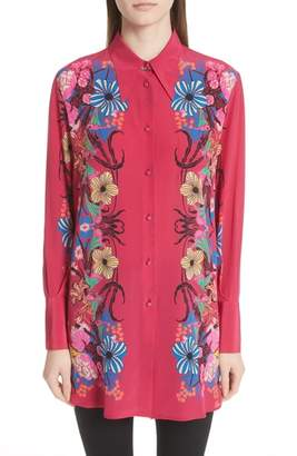 Pink floral blouse shopstyle etro floral print silk blouse mightylinksfo