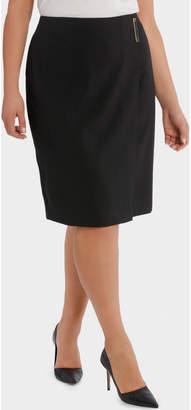 Fine Line Wrap Front Midi Suit Skirt