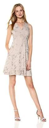 T Tahari Women's Annalise Metallic Floral Print Dress