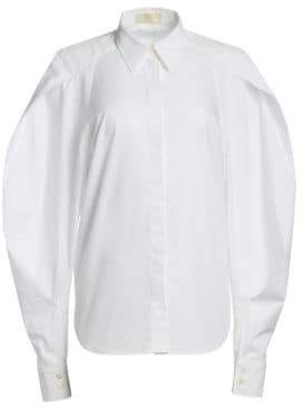 Sara Battaglia Long-Sleeve Poplin Full-Sleeve Button-Down Shirt
