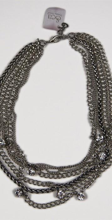 Maya'z Short Multi Chain Necklace in Silver Clear