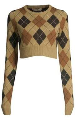 Michael Kors Cropped Cashmere Argyle Pullover Sweater