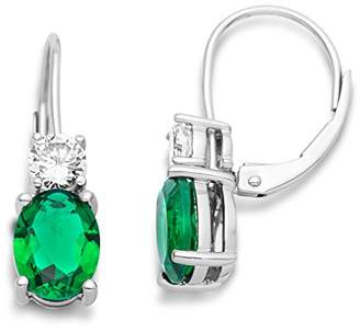 At Co Uk Miore Earrings Women Drop Emerald And Brilliant Cut Zirconia 925 Sterling Silver