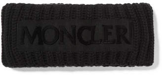 Moncler Flocked Grosgrain-trimmed Ribbed Wool Headband - Black
