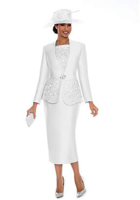 GIOVANNA COLLECTION Giovanna Collection Women's Cut-Out Detail Embellished 3-Piece Skirt Suit- Plus