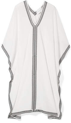 Marie France Van Damme - Embroidered Silk Crepe De Chine Kaftan - White