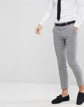 Moss Bros Skinny Wedding Suit Pants In Grey Check
