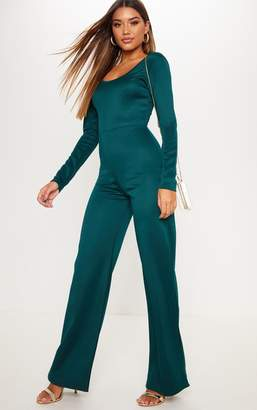 PrettyLittleThing Chocolate Long Sleeve Scuba Flared Leg Jumpsuit
