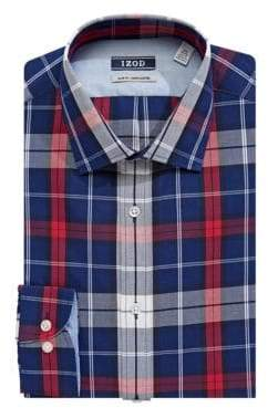 Izod Slim Fit Wrinkle-Free Plaid Dress Shirt