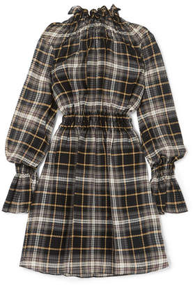 Beaufille - Galileo Ruffled Plaid Cotton And Silk-blend Voile Tunic - Gray green
