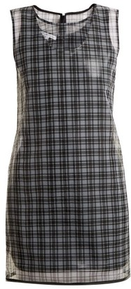Helmut Lang Round Neck Checked Semi Sheer Dress - Womens - Black Multi