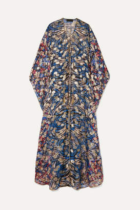 Dundas Lace-up Metallic Fil Coupé Silk-blend Chiffon Kaftan - Cobalt blue