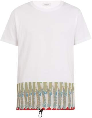 Valentino Feather-print cotton-jersey T-shirt