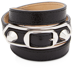 Balenciaga  Classic Metallic Edge Triple Tour Leather Bracelet
