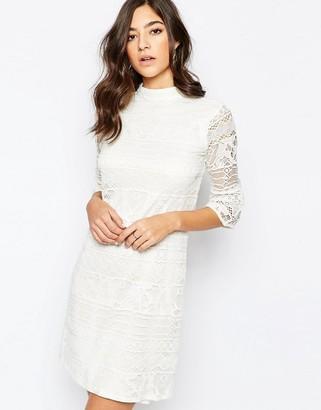 Warehouse High Neck Flute Sleeve Dress $96 thestylecure.com