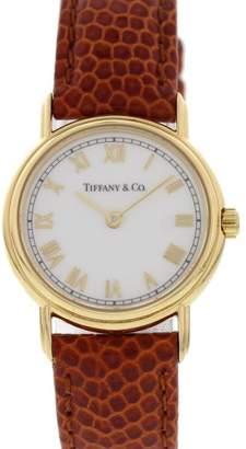 Tiffany & Co. L253 18K Yellow Gold & Brown Leather Quartz 25mm Womens Watch
