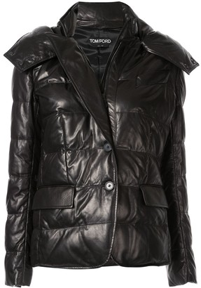 Tom Ford padded hooded leather jacket