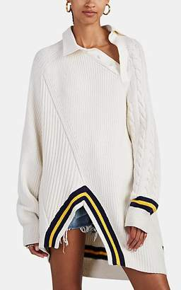 Alexander Wang Women's Chunky Mixed-Knit Polo Sweater - Ivorybone
