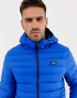 Pull&Bear quilted jacket with hood in blue