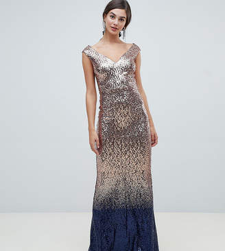 City Goddess Tall ombre sequin embellished maxi dress