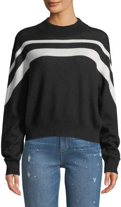 ATM Anthony Thomas Melillo Cashmere-Blend Intarsia Striped Pullover Sweater