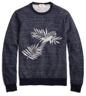 Brooks Brothers Red Fleece Tropical Motiff Plated Crewneck Cotton Sweater