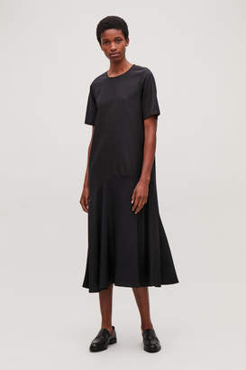 Cos SILK-PANELLED LONG DRESS