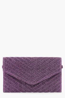 boohoo Glitter Quilted Clutch And Chain