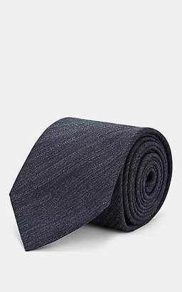 Brioni Men's Textured Silk-Linen Twill Necktie - Gray