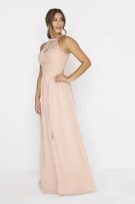 Little Mistress Salmon Pink Lace Dress