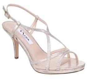 Nina Blossom Strappy Metallic Sandals