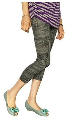 K-Cliffs Women Printed Denim Look Jean Style Capri Stretch Jegging Skinny Pants, Blue Pocket
