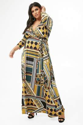 Forever 21 Plus Size Scarf Print Maxi Dress