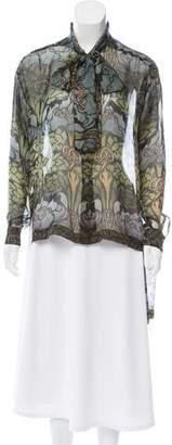 Alberta Ferretti Printed Silk Top w/ Tags