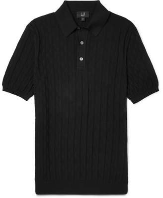 Dunhill Slim-Fit Cotton-Jacquard Polo Shirt - Black