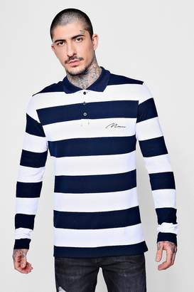 boohoo MAN Embroidered Long Sleeve Engineered Stripe Polo