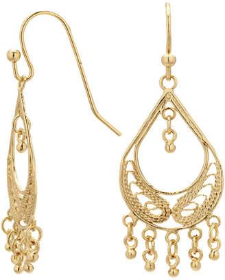 GOLD REFLECTION Silver Reflections Gold Over Brass Filigree Fringed Teardrop Chandelier Earrings