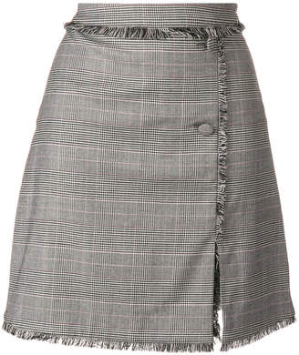 MSGM raw edge button front skirt