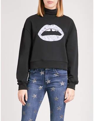 Markus Lupfer Floral-embroidered Lara Lip cotton-jersey sweatshirt