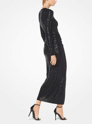 Michael Kors Sequined Matte-Jersey Cutout Sarong Dress