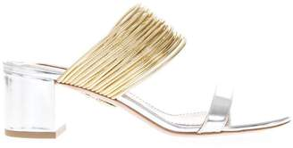 Aquazzura Silver Laminate Leather Block Heels Sandals