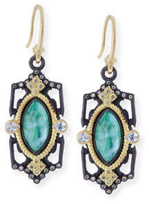 Armenta Old World Emerald Triplet Drop Earrings with Diamonds