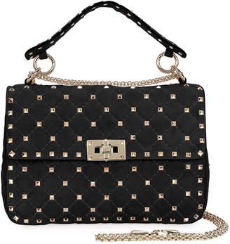 Valentino Rockstud Spike Medium Quilted Suede Satchel Bag, Black