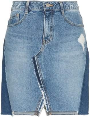 Sjyp Patchwork Denim Mini-Skirt