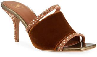 Malone Souliers Velvet Embellished Mule Sandals