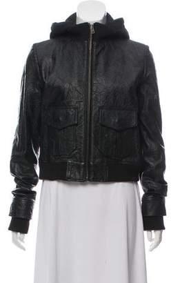Jocelyn Detachable-Hood Leather Jacket