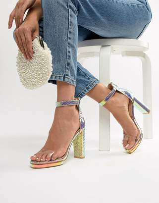clear SIMMI Shoes Simmi London Meena rainbow snake detail sandals