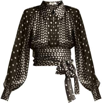 Diane von Furstenberg Polka-dot silk-blend chiffon blouse